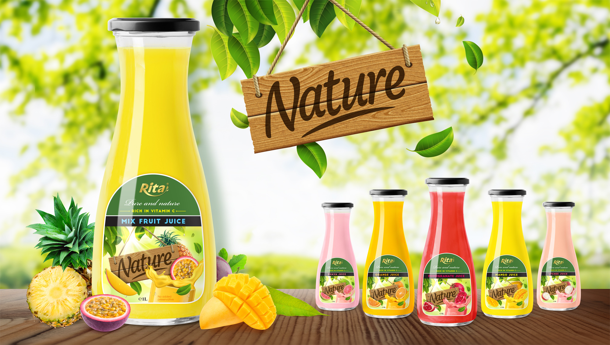 Fruit juice Glass bottle 1L 02