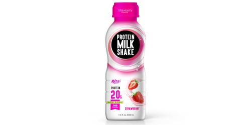 Juice bottles Protein milk shake with strawberry